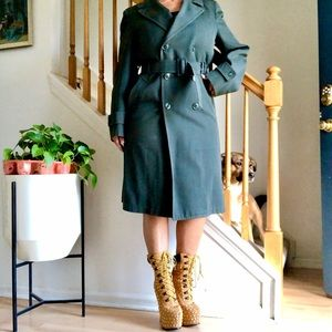 Vintage 1960's Drab Olive Heavy Trench Coat